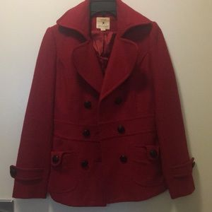 Red double breasted pea coat with black buttons